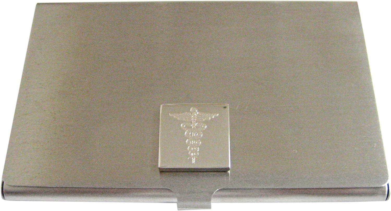 Silver Toned Etched Detailed Caduceus Medical Symbol Business Card Holder