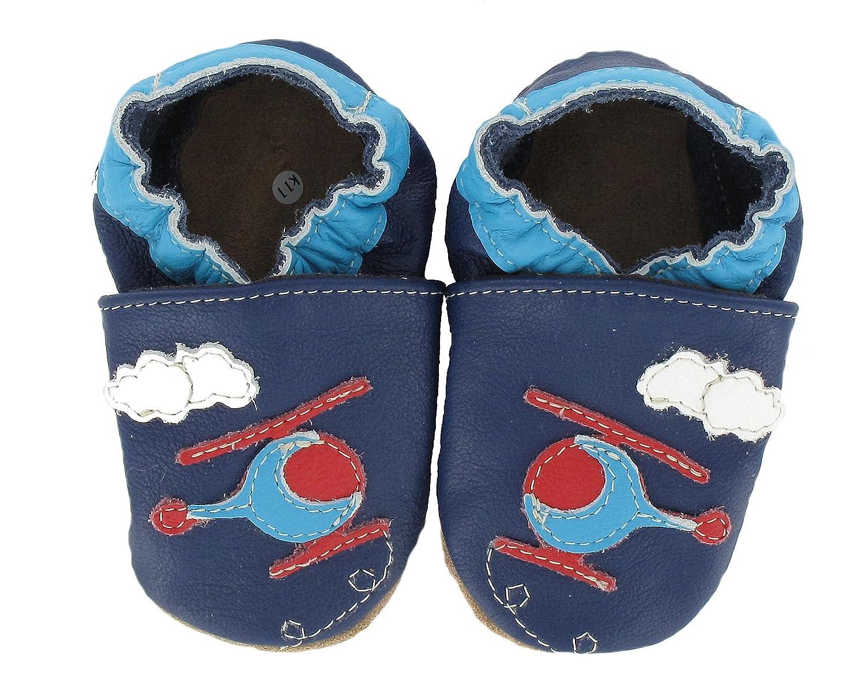 HOBEA-Germany - Krabbelschuhe HubschrauberHubi, Pattini di bambino e sneakers unisex bimbo, color Blu (blau), talla 18/19 (6-12 Mon.) Heba F-95941