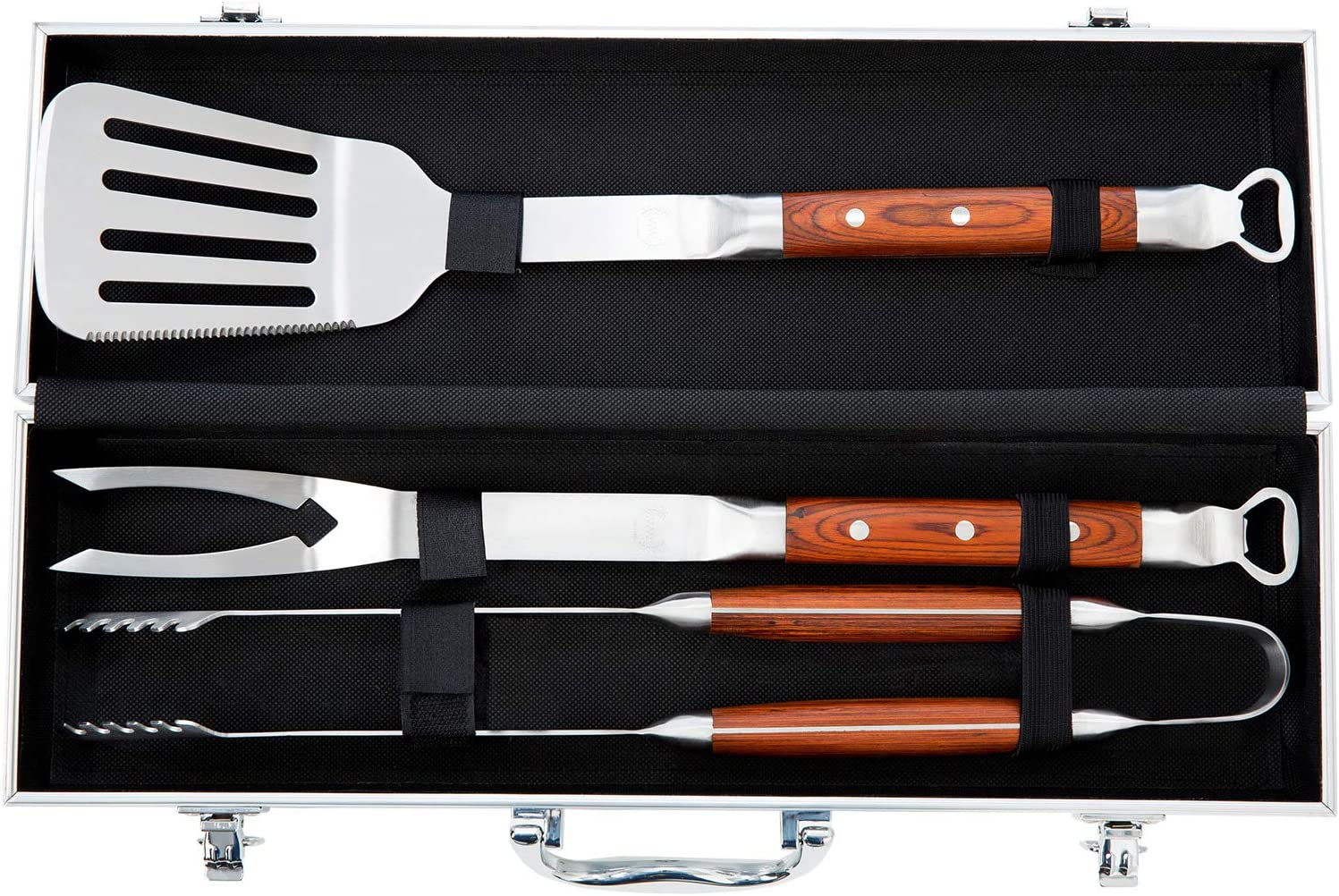 BBQ Tool Set – Grill Tool Set 3pcs – Grill Utensil Set Stainless Steel with Rosewood Handles – BBQ Tool Kit Gift with Carry Case – WareWorks BBQ Utensil Set for Home, Grill, Camping, Travel