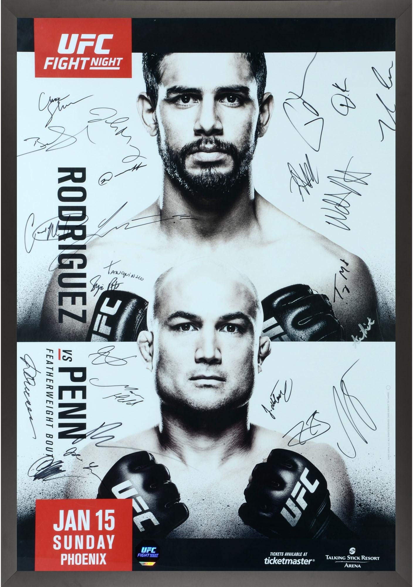 "UFC Fight Night 103 Rodriguez vs. Penn Framed Autographed 27"" x 39"" 24 Signature Fight Poster Fanatics Authentic Certified"
