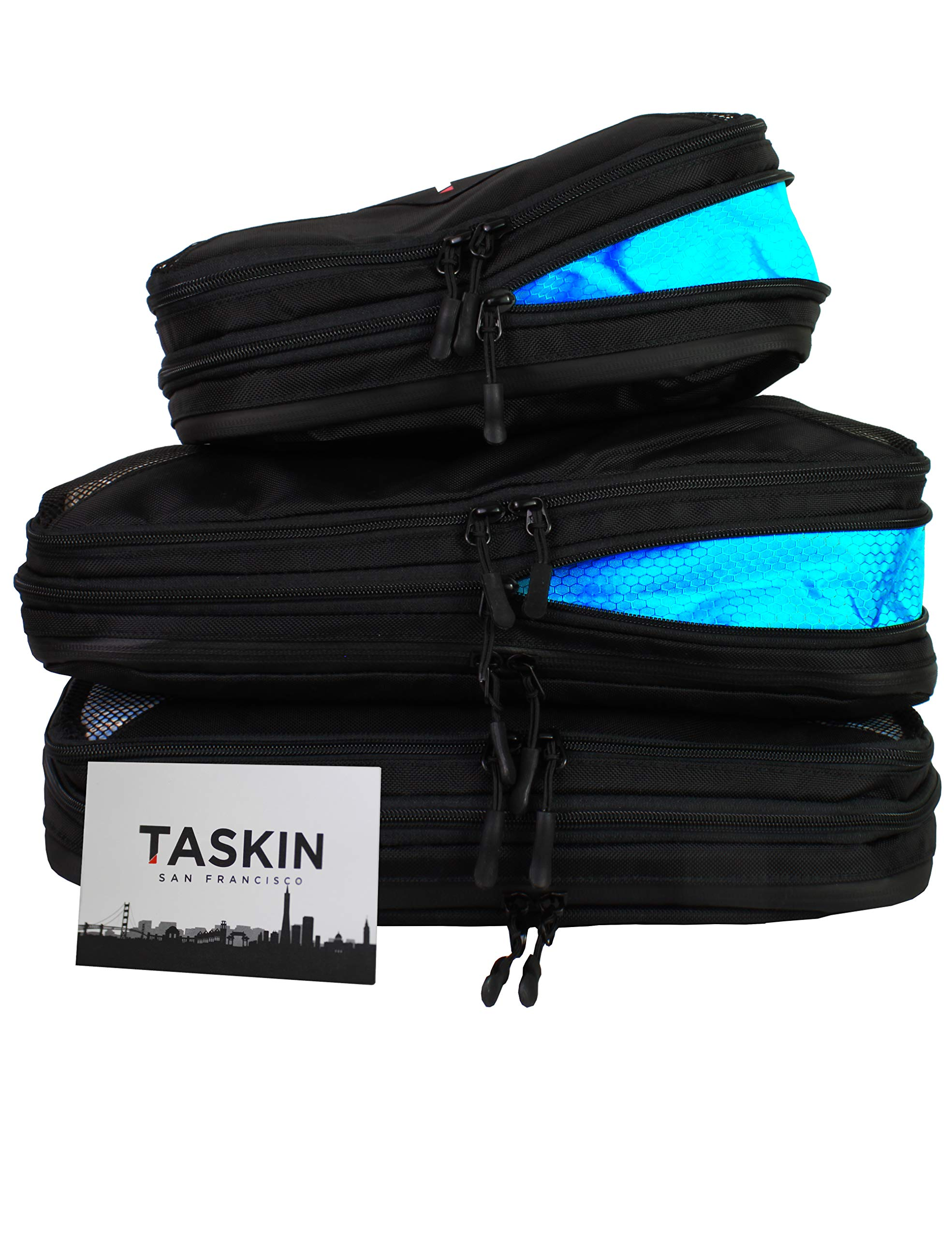 Taskin | Compression Packing Cubes | Separate Clean & Dirty Compartments w/Flexible Separator | Premium Set of 3 (2 Large + 1 Medium) | Genuine YKK Zippers