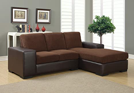 Amazon.com: HomeRoots Sofa Lounger - Dark Brown Corduroy ...