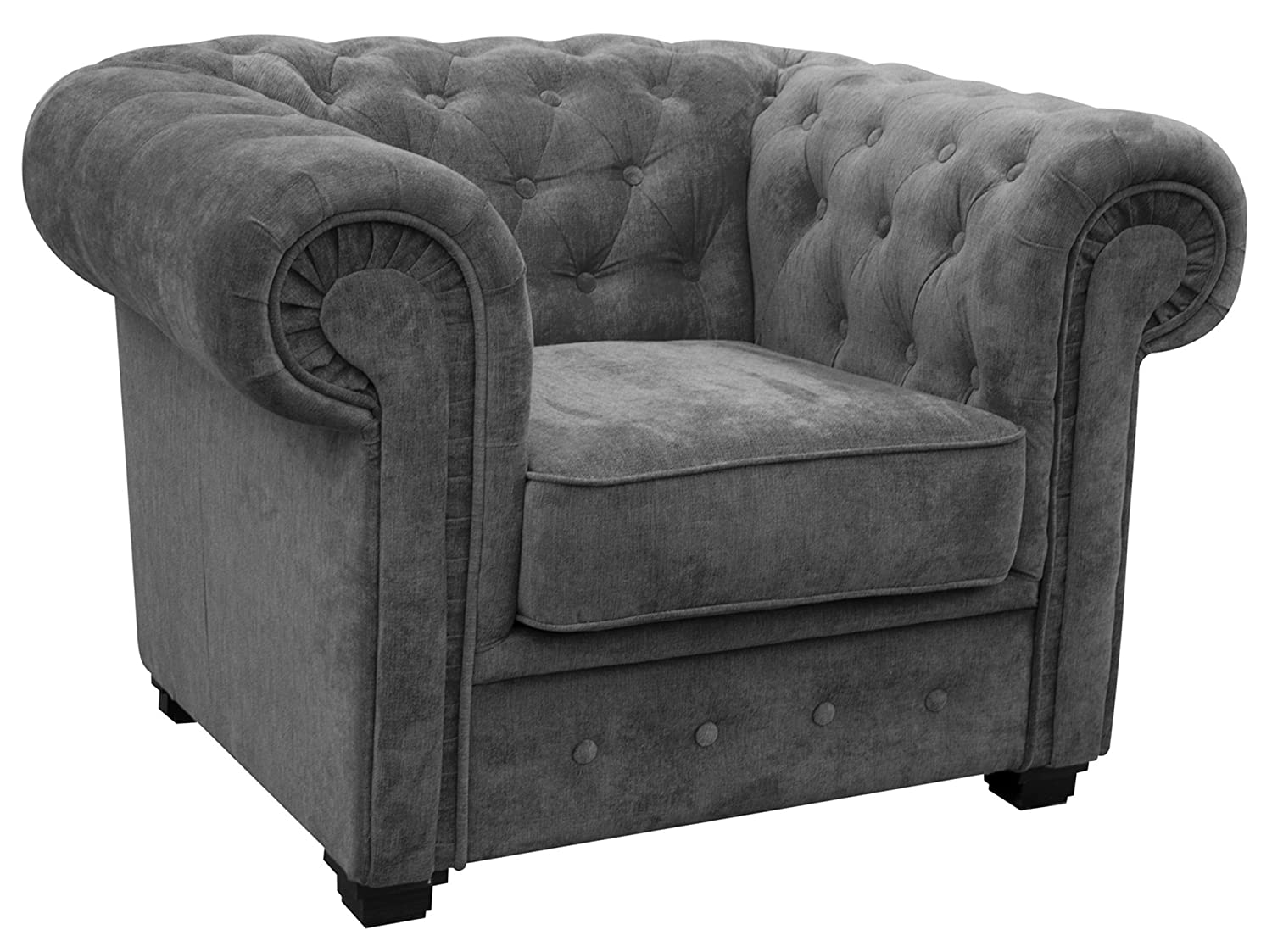 Armchair Chesterfield Style Corner Sofa Set 3+2 Seater Armchair Grey Fabric (3 Seater)