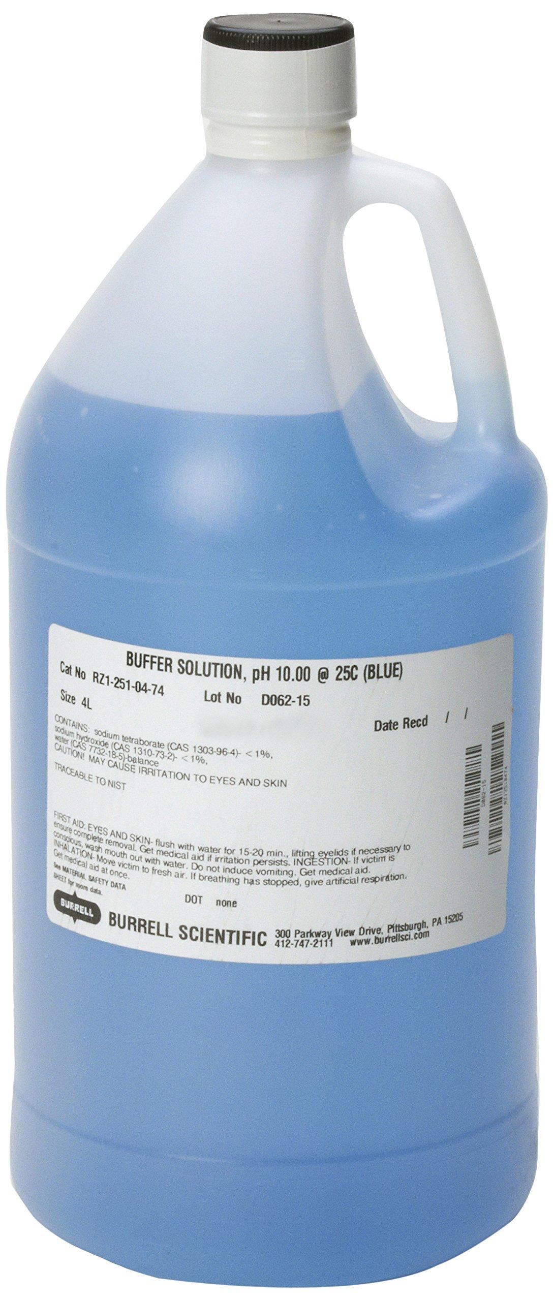 Burrell Scientific RZ1-251-04-74 Buffer Solution, 10.0 pH, 4 L, Blue