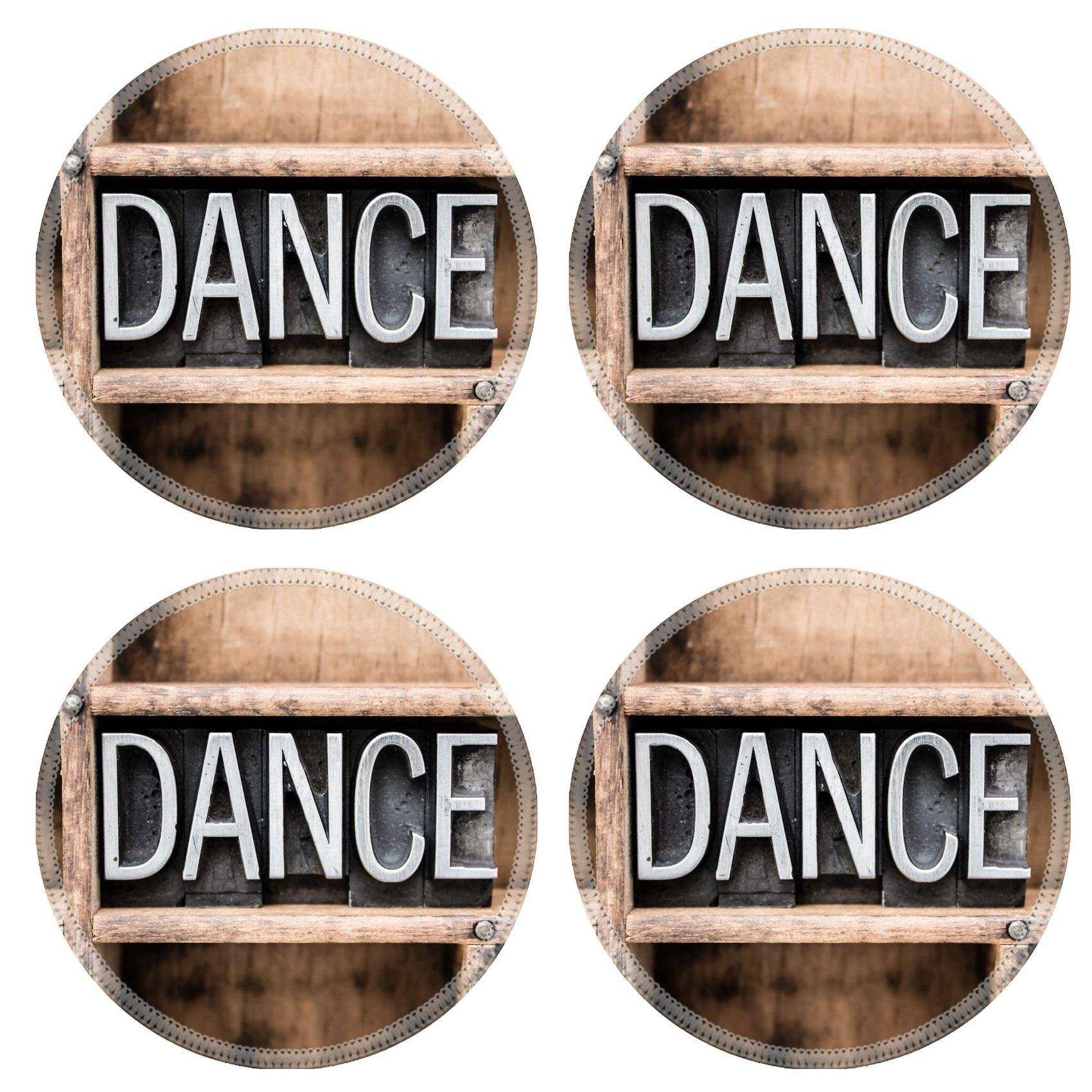Luxlady Natural Rubber Round Coasters IMAGE ID: 37015564 The word DANCE written in vintage metal letterpress type in a wooden drawer with dividers