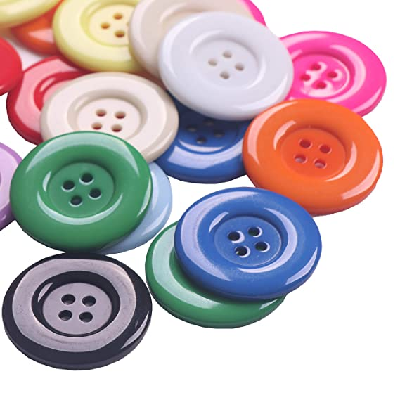 38mm Sewing Resin Buttons Round Shape 4 Holes Craft Buttons for Sewing Scrapbooking and DIY Craft Multicolored YAKA 50Pcs 1.5inch