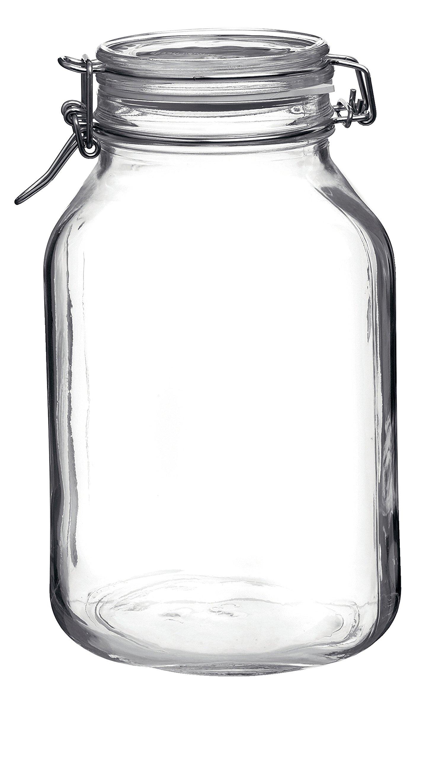Bormioli Rocco Fido Glass Square Jar, 3 Liter