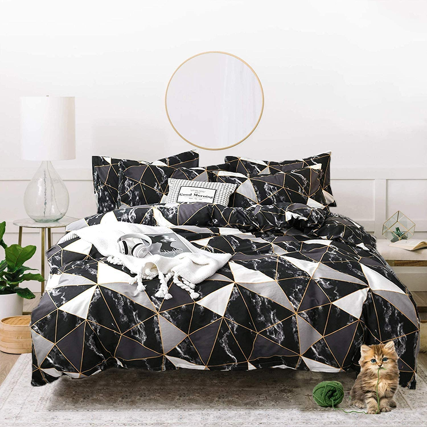 Jumeey Black Comforter Queen White Silver Grey Gold Plaid Bedding Full Size Men Women Modern Black Marble Bedding Comforters Sets Cotton Teen Boy Blocks Triangle Quilts Geometric Comforter Set Queen