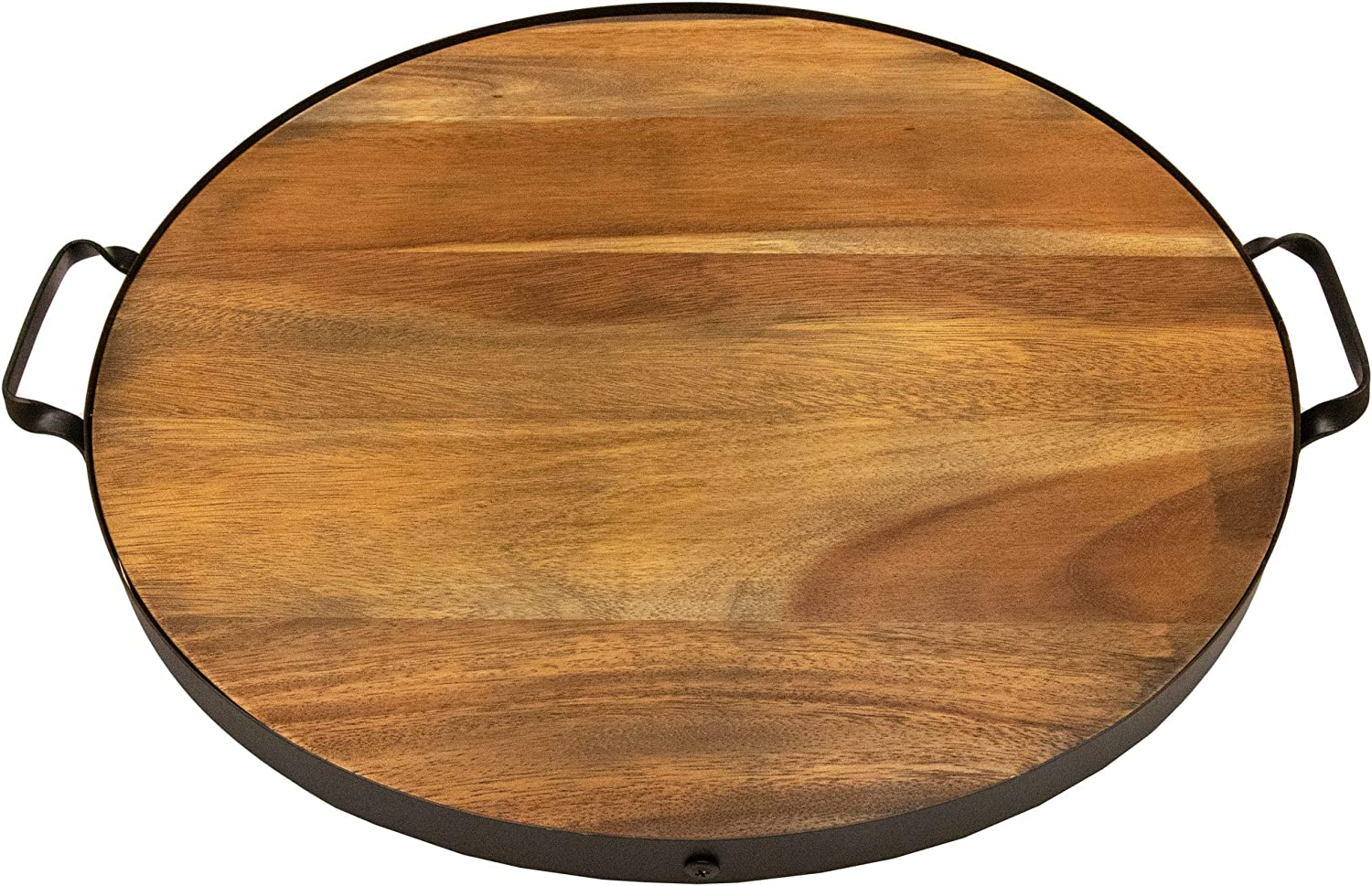 Villa Acacia 18 Inch Round Serving Tray, Solid Wood with Metal Band and Handles