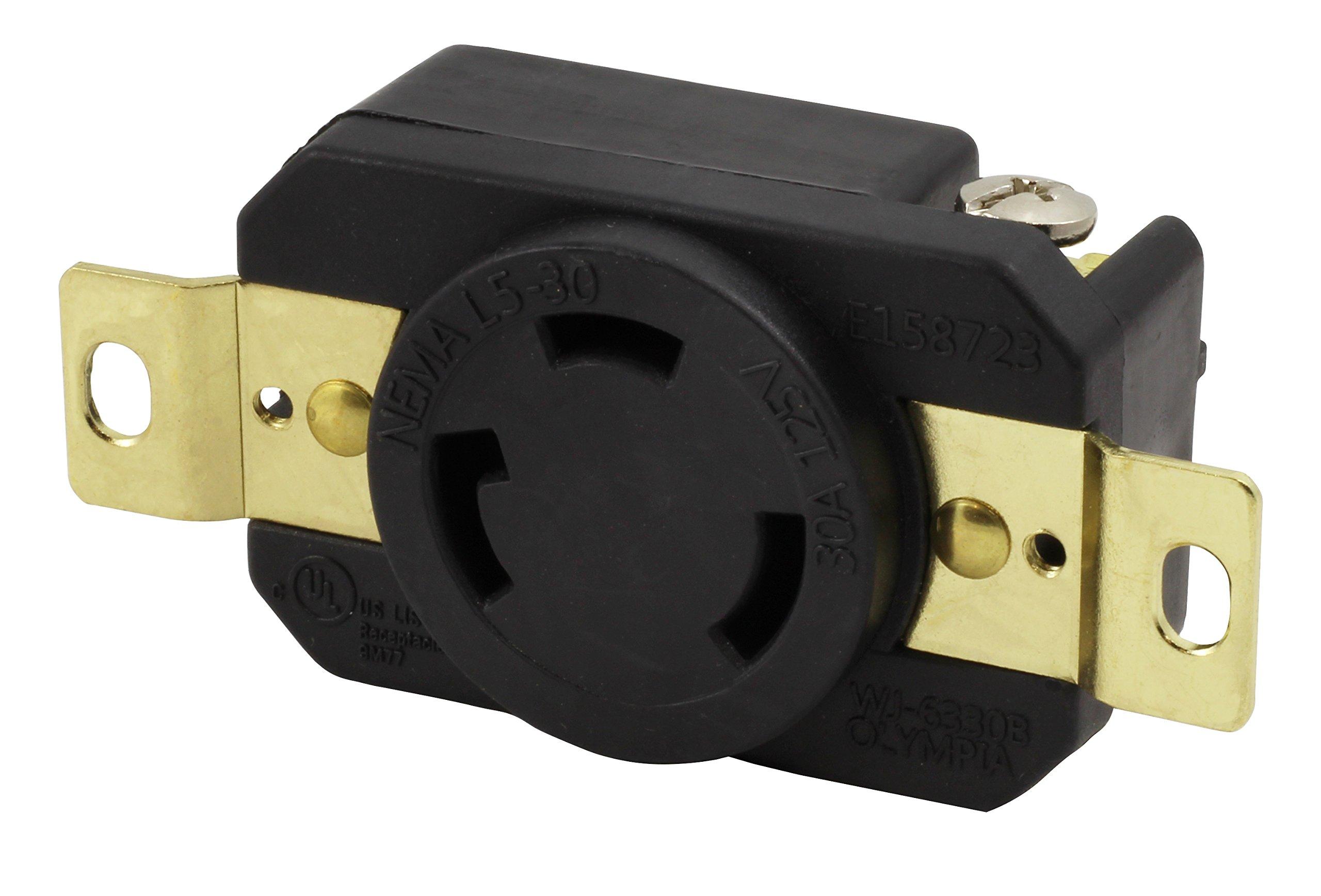 AC WORKS [FML530R] 30-Amp, 125-Volt, NEMA L5-30R Flush Mounting Locking Industrial Grade Receptacle