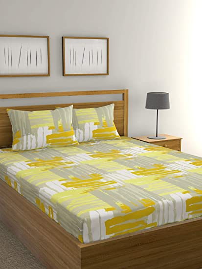 Raymond Home Exclusive 104 TC Cotton Double Bedsheet with 2 Pillow Covers - Multicolour