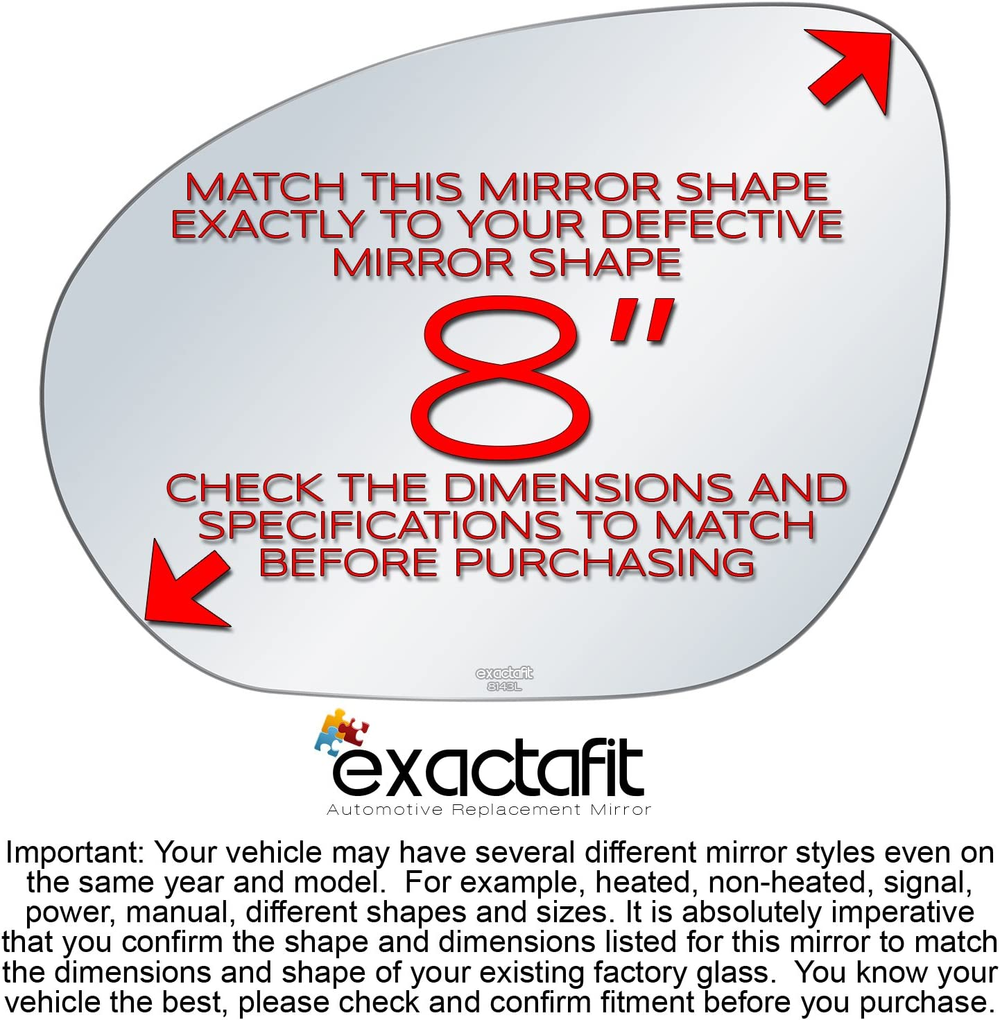 Driver Side Rear View Mirror Glass Replacement Left Hand Flat Fits 2009 2010 2011 2012 2013 2014 Nissan Cube Juke by exactafit 8143L Adhesive Install