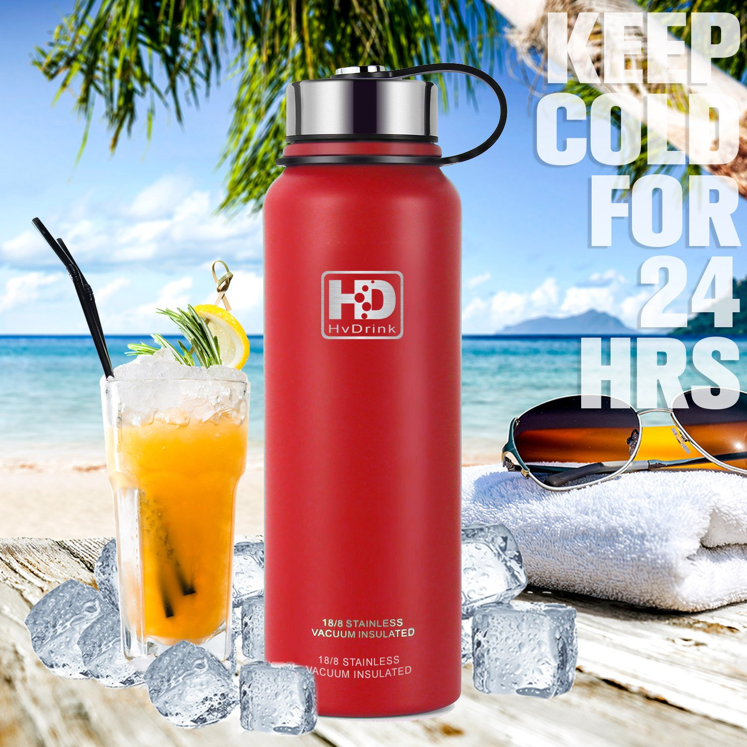 Travel Sports Leak Proof Drinking Bottle with Metal Strainer 24Hrs Cold,12Hrs Hot BPA Free 21OZ-50OZ Double Wall Thermos Flask Hiwill Stainless Steel Vacuum Insulated Water Bottle