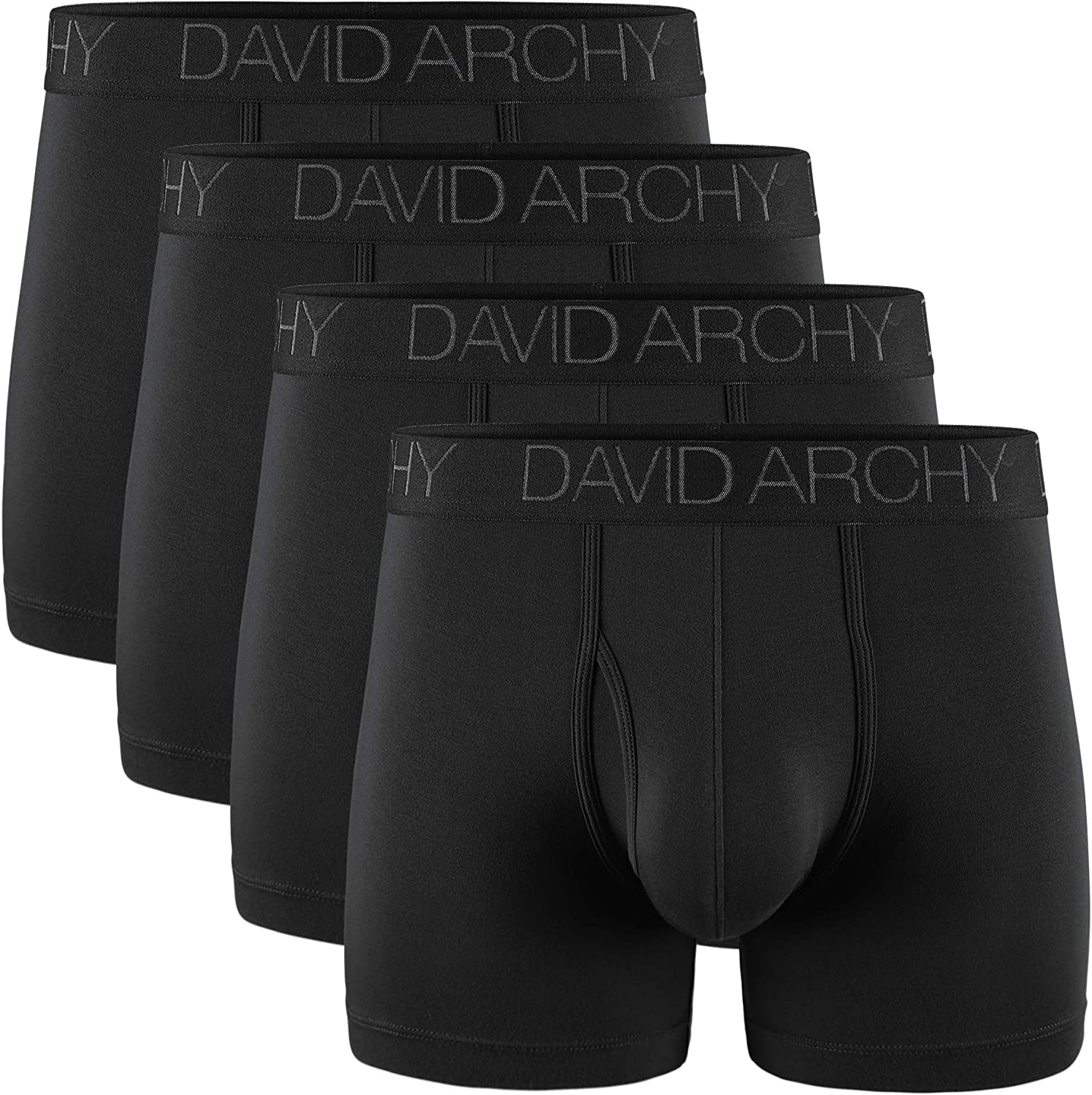 DAVID ARCHY Men's Underwear Breathable Boxer Briefs Bamboo Rayon Trunks with Fly in 3 or 4 Pack