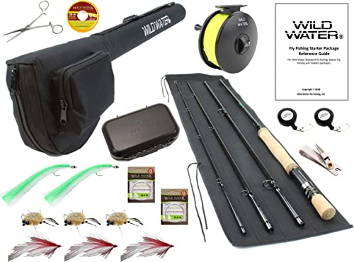 Wild Water Fly Fishing 9 Foot, 4-Piece, 9 10 Weight Fly Rod Deluxe Complete Fly Fishing Rod and Reel Combo Starter Package with Saltwater Flies
