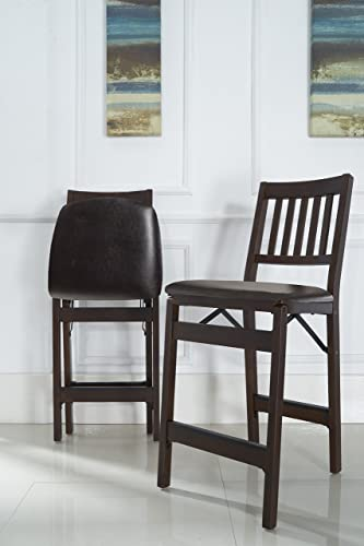 Stakmore Folding Counter Height Stools, Espresso with Bonded Leather Set of 2