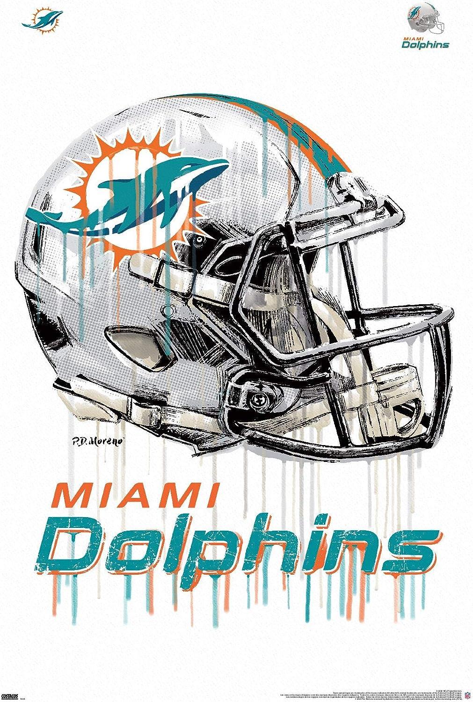 Trends International NFL Miami Dolphins - Drip Helmet 20 Wall Poster, 22.375