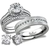 His and Hers Matching Bridal Set Stainless Steel CZ Wedding Rings Set + FREE STERLING SILVER EARRINGS