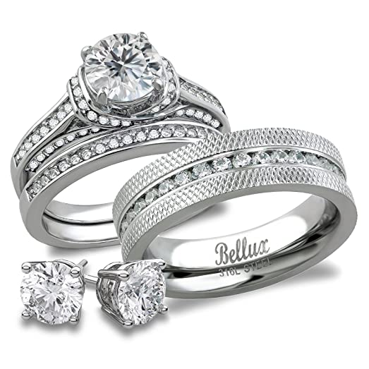 his and hers matching bridal set stainless steel cz wedding rings set free sterling silver - Cz Wedding Rings