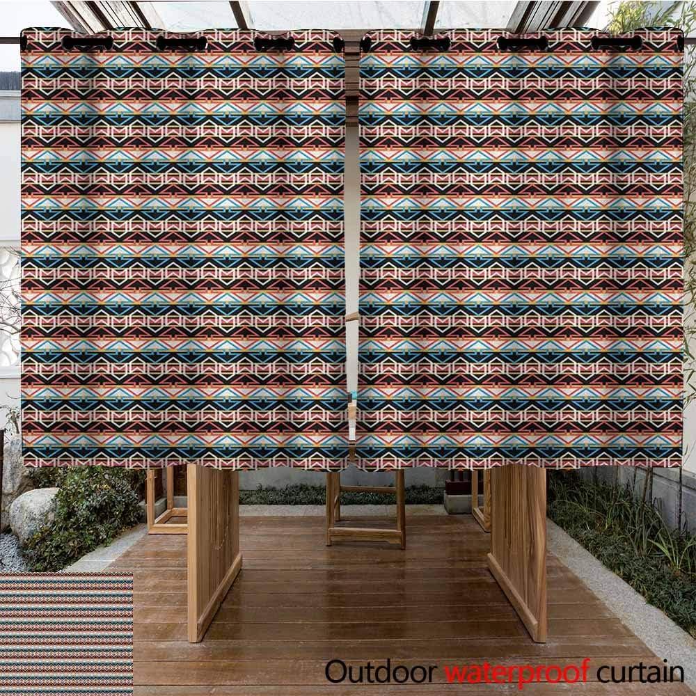 AndyTours Cortina de Puerta corredera, Estilo Boho, Bordes horizontales Dibujados a Mano con triángulos y Motivos Zigzag, Nativo Americano, oscurecimiento térmico Aislado Opaco: Amazon.es: Jardín