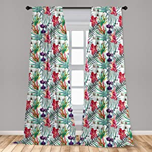 "Ambesonne Watercolor Flower Window Curtains, Tropical Wild Orchid Flowers with Palm Leaves Print Exotic Style Nature, Lightweight Decorative Panels Set of 2 with Rod Pocket, 56"" x 63"", Red Green"