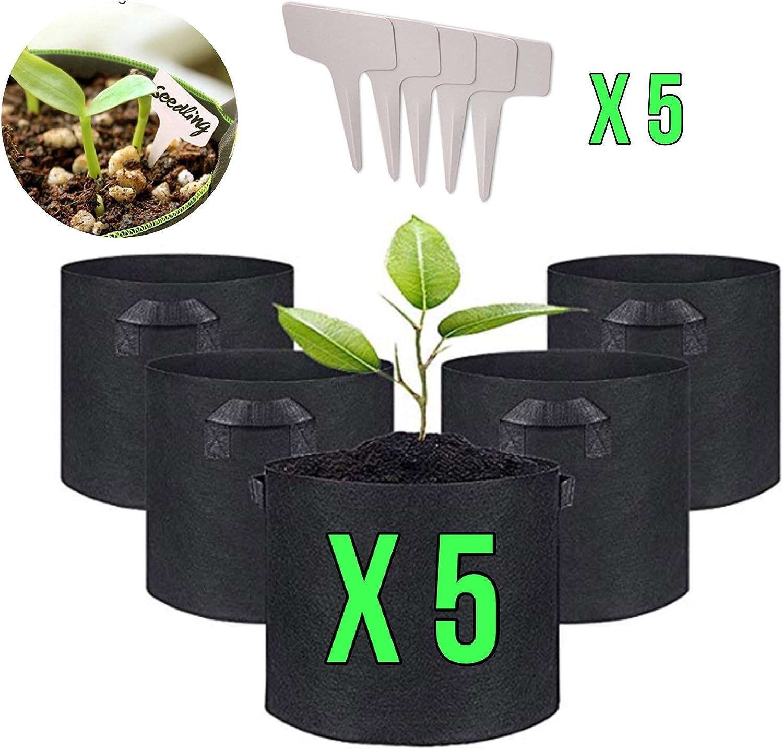 IN-OV Juego de 5 macetas de Tela con Asas: 5 galones(22L) con 5 marcadores de Plantas