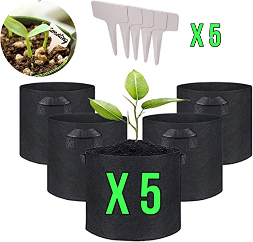 IN-OV Juego de 5 macetas de Tela con Asas: 3 7 5 10 galones con 5 marcadores de Plantas