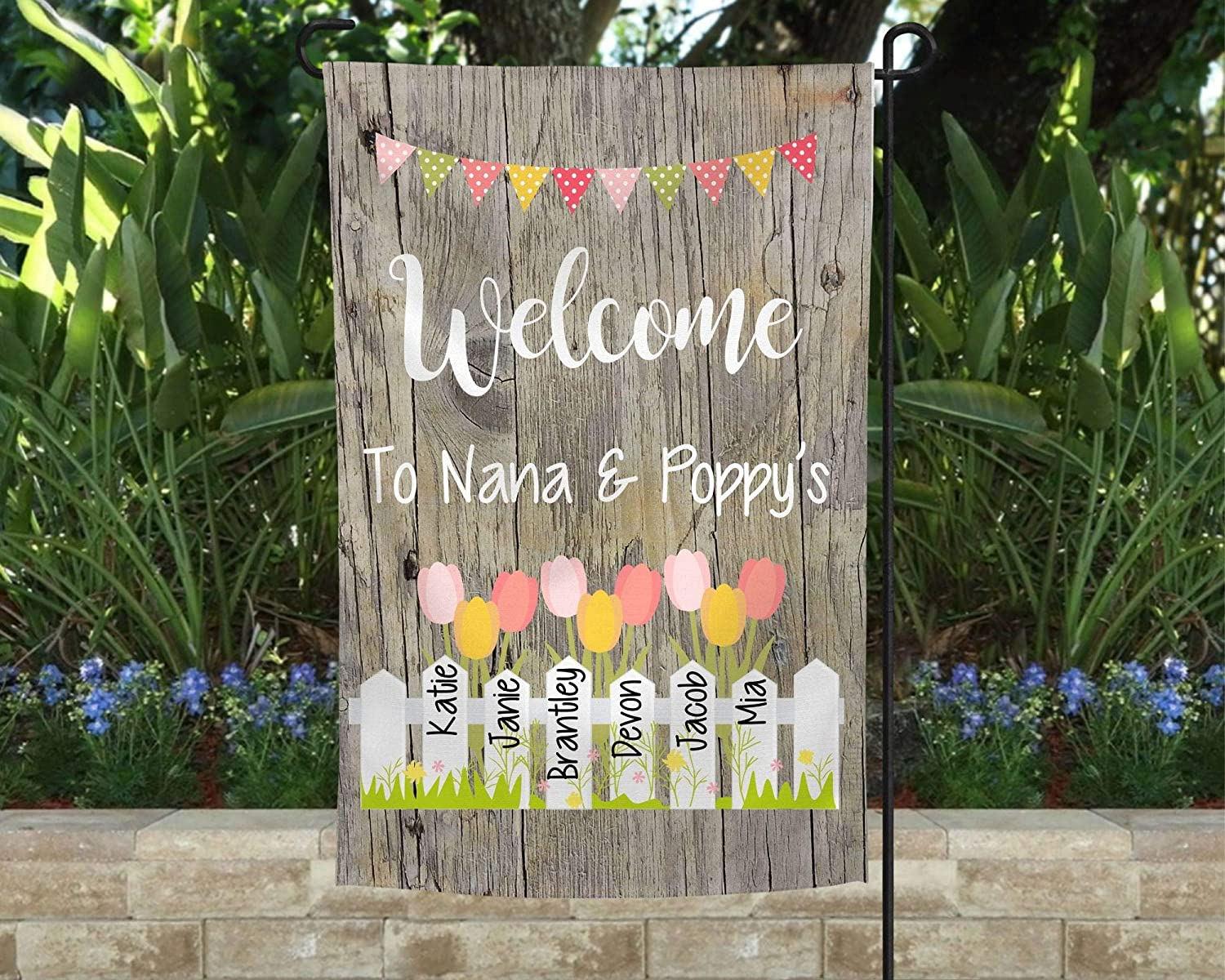 Promini Personalized Grandma Flag with Grandkids Names, Garden Flag for Grandma