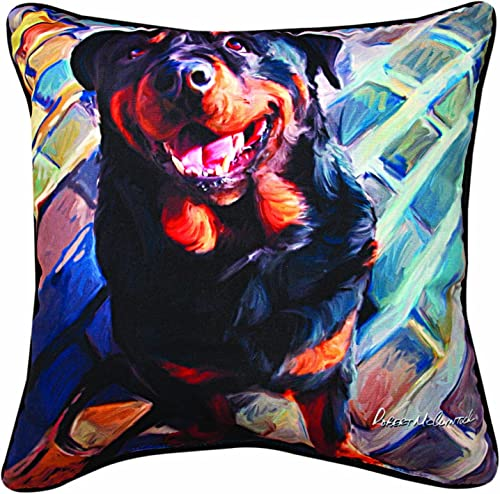 Manual Handsome Rottie Paws and Whiskers Decorative Square Pillow, 18-Inch