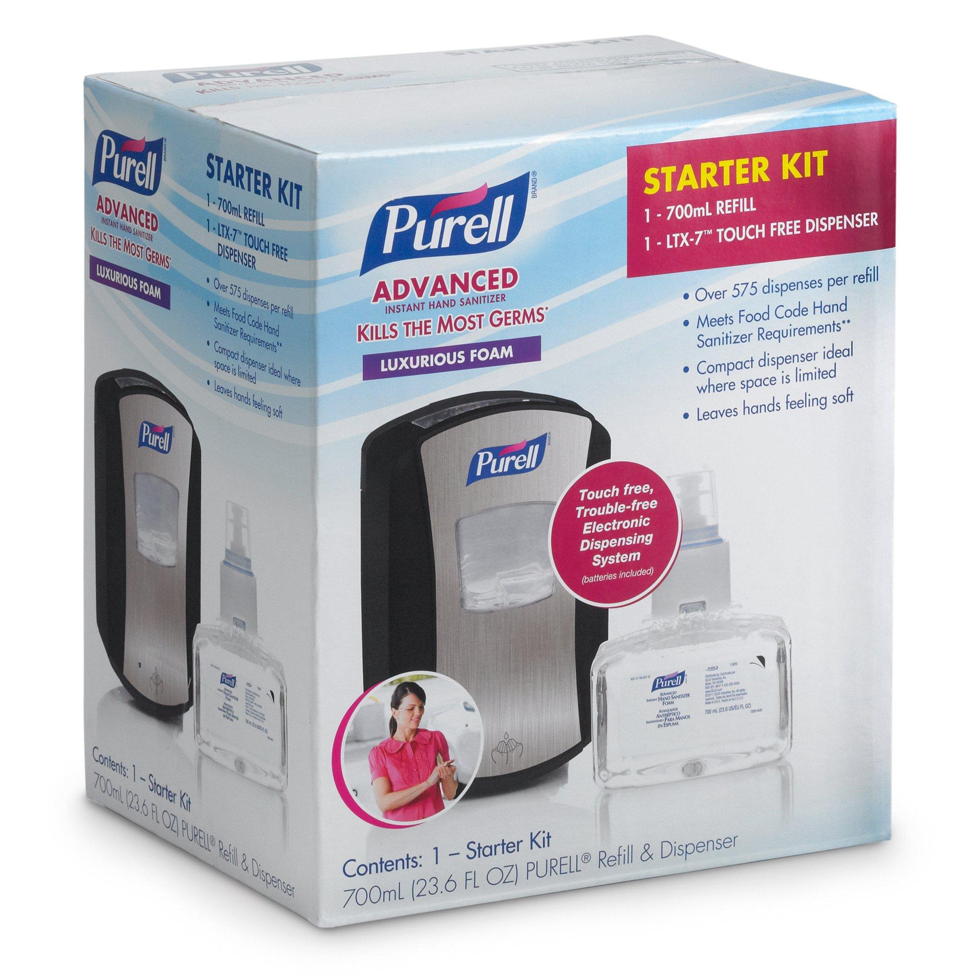 PURELL 1305-D1 2 Piece LTX-7 Advanced Instant Hand Sanitizer Foam Refill Dispenser Kit