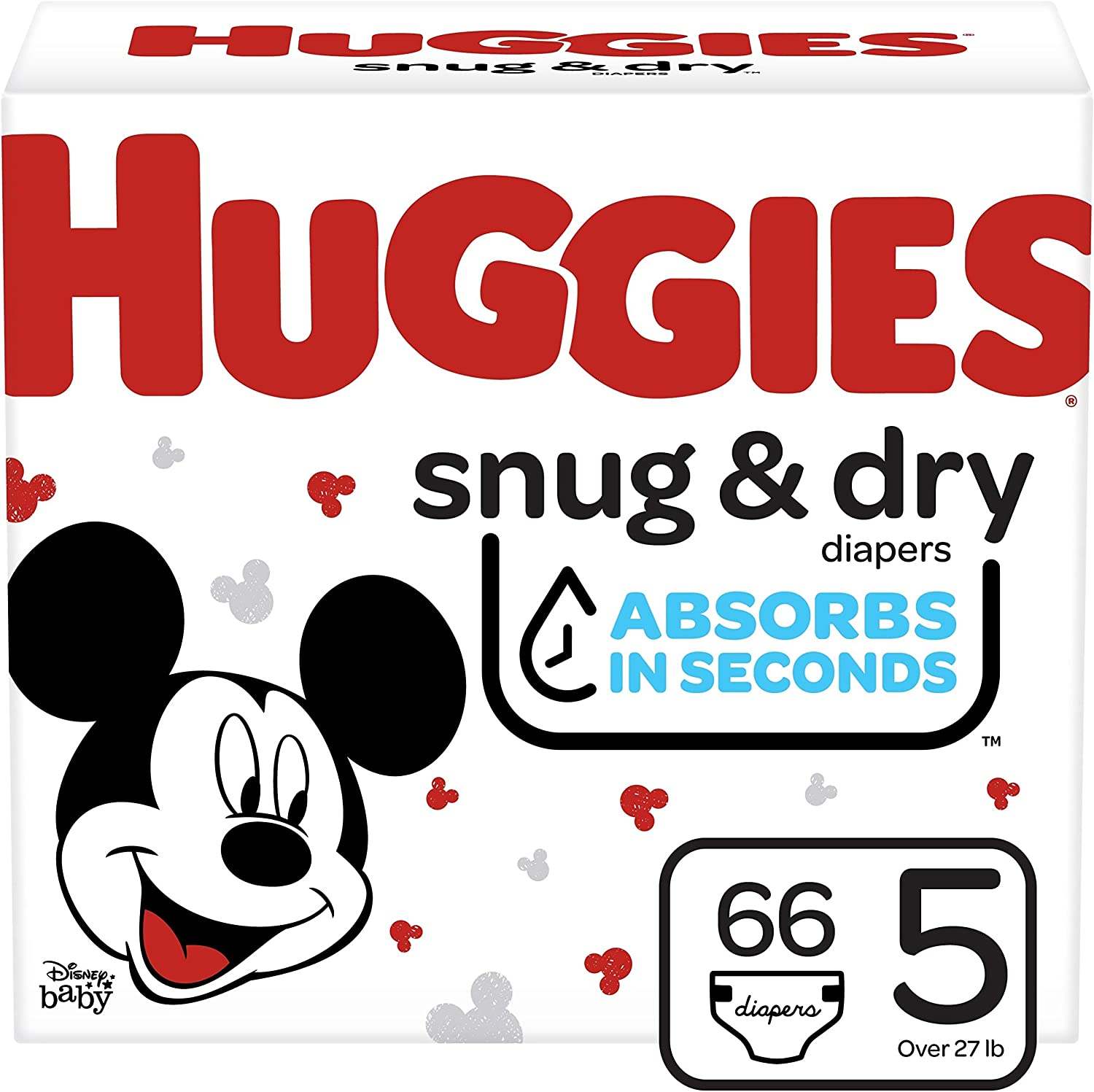 Huggies Snug & Dry Baby Diapers, Size 5, 66 Ct