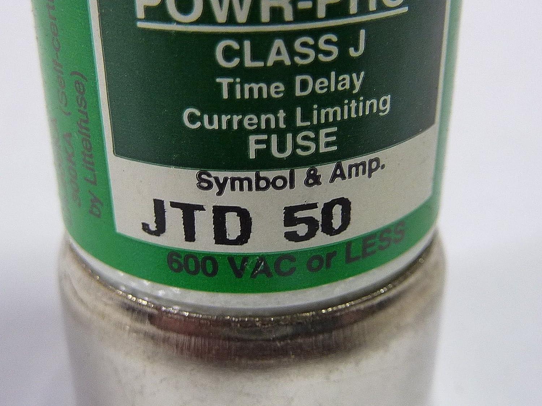 50Amp 600V Slow Blow Class J Cartridge Fuse Littelfuse JTD-50 JTD050