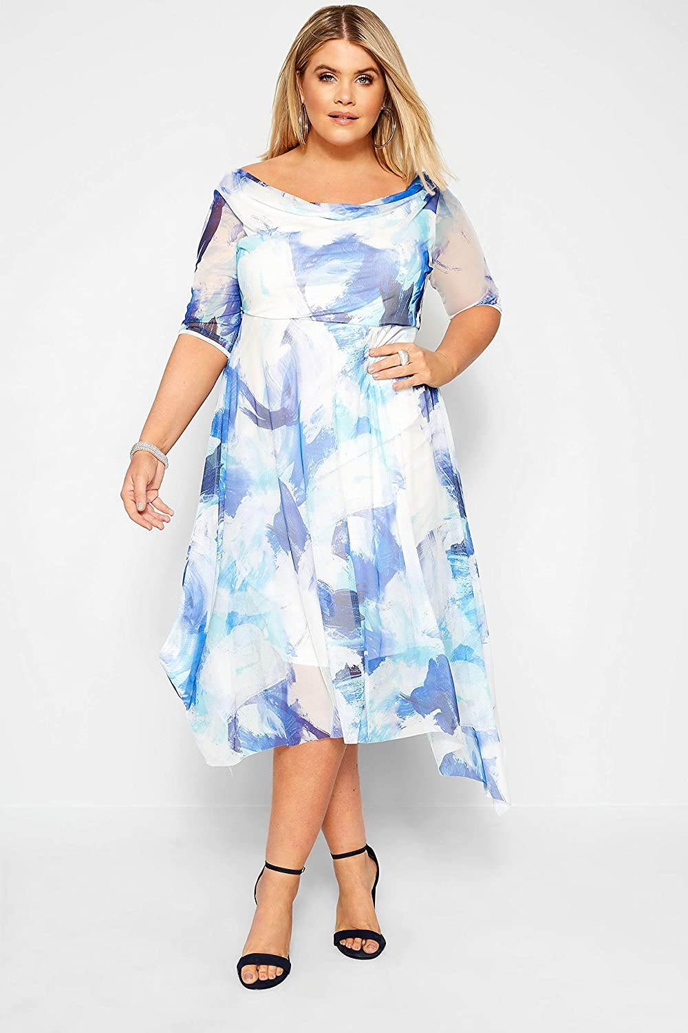 Yours Clothing Womens Plus Size Double Layer Floral Dress
