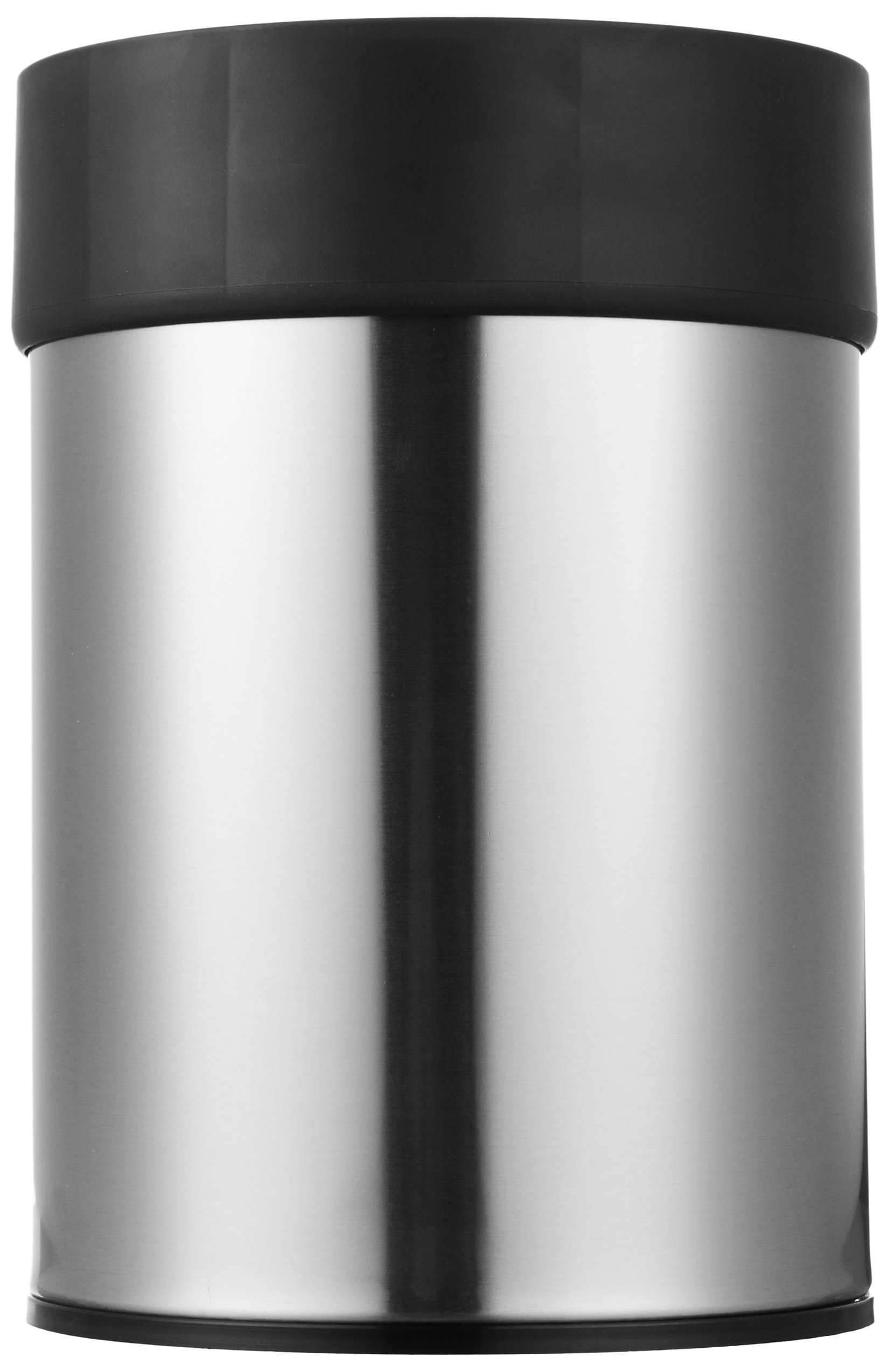 AmazonBasics Stainless Steel Trash Waste Can with Lid, Black by AmazonBasics