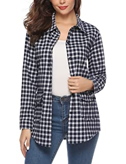 d2350b167ce89 iClosam Women Long Sleeve Boyfriend Button Down Plaid Flannel Shirts with  Detachable Hood