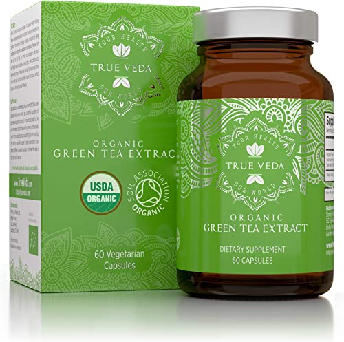 Organic Green Tea Extract Capsules USDA Organic Certified 60 Green Tea Pills EGCG Green Tea Extract Green Tea Fat Burner Promote Natural Weight Loss Supplement Metabolism Booster