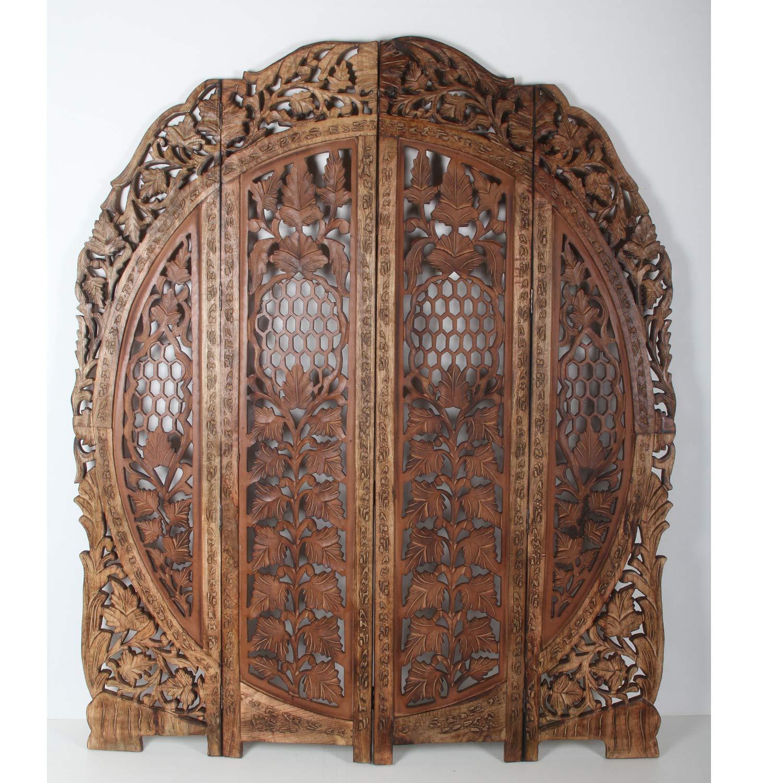 Casa Moro Orientalischer Paravent Raumteiler Rana 153x182 cm braun 4 teilig aus massiv Mangoholz & MDF   Indische Trennwand als Raumtrenner & schöne Dekoration   Kunsthandwerk Pur   PV7030