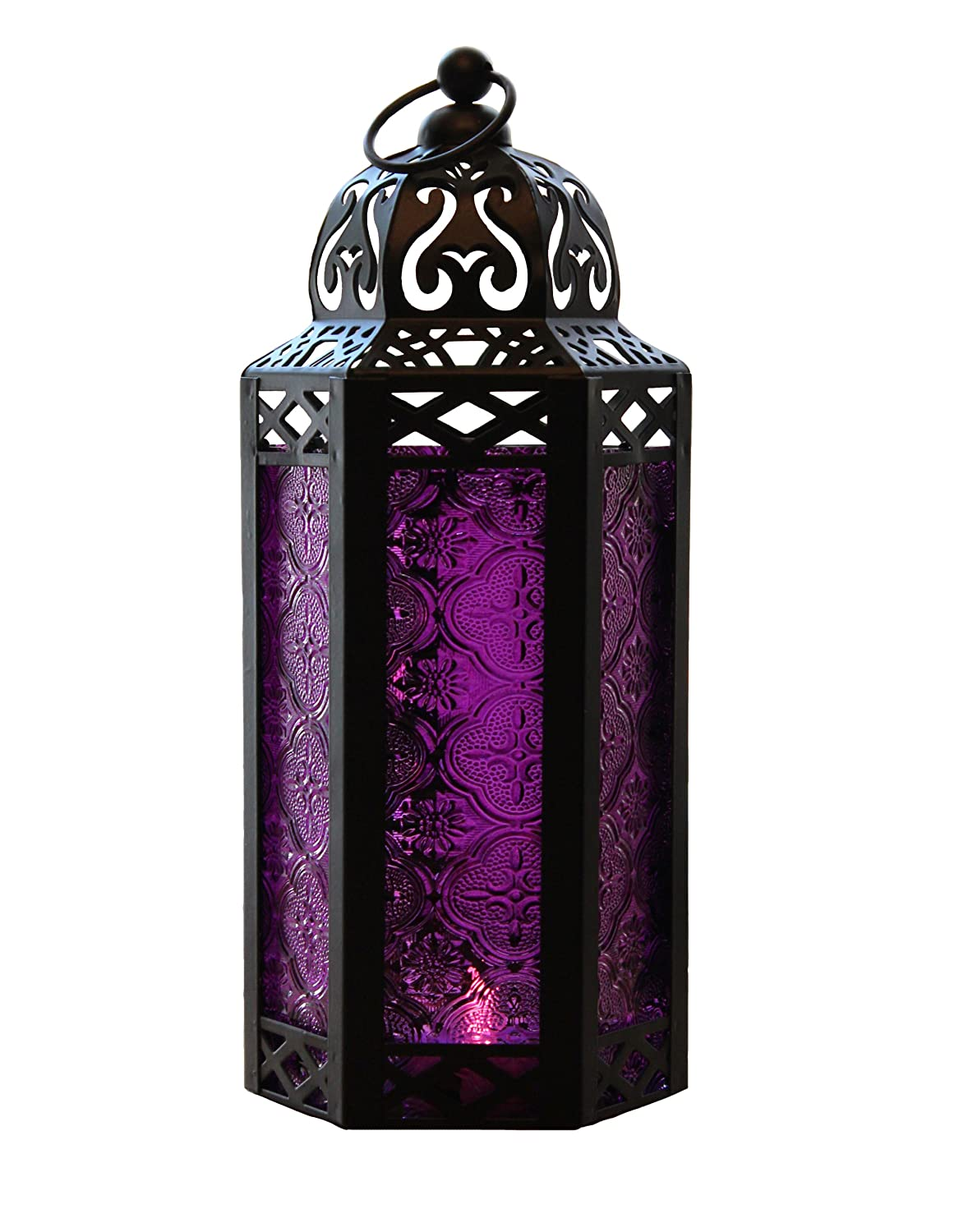 Amazon.com: Purple Glass Moroccan Style Candle Lantern - Great for ...