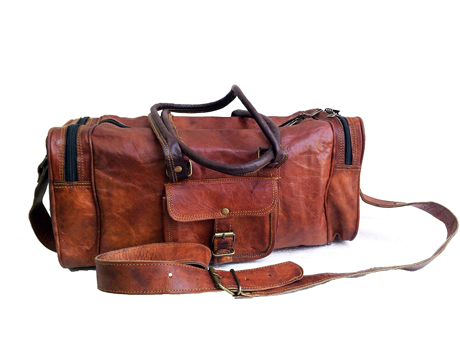 Mens Leather duffle bag carry on Small Weekend Travel Sports Gym Bag for men   Amazon.ca  Luggage   Bags 6129a69371bc7