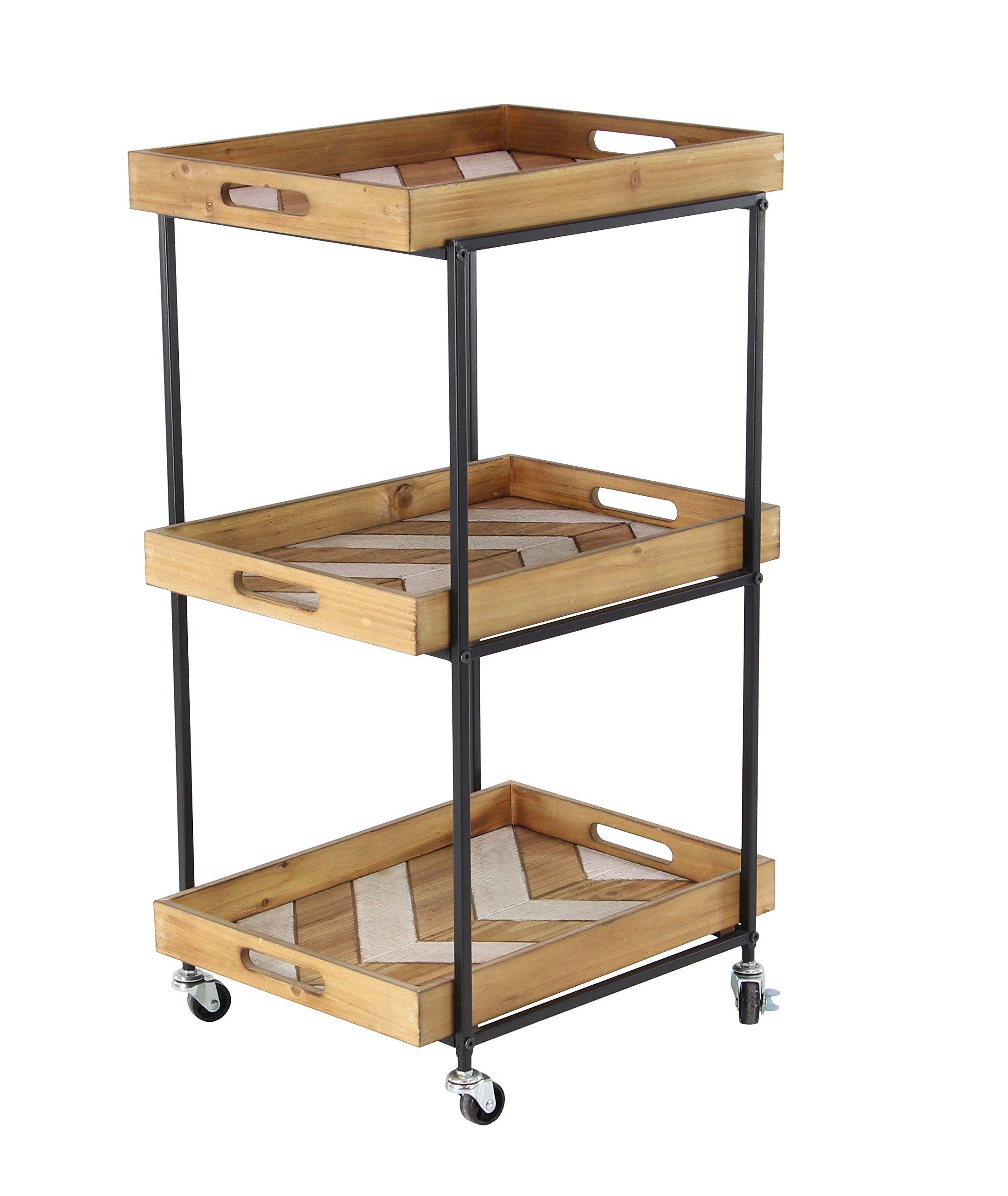 Deco 79 94684 Utility Cart Beige/Gray/White/Silver