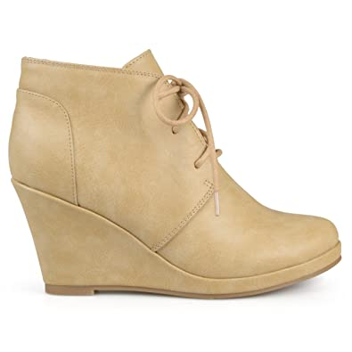 Womens Lace-up Faux Leather Vegan Round Toe Lace-up Wedge Booties
