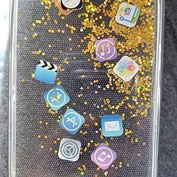 Amazon Co Jp Iphone6ケース Iphone6sケース アイフォン6ケース 6sカバー 可愛い キラキラ 動く 流れ アプリ アイコン 個性的 面白い グリッター ラメ 流砂 創意 Ios Icon App 流動iosアイコン 図面 多彩な 液体入り 流動の砂 Vivinn 人気カバー バックカバー