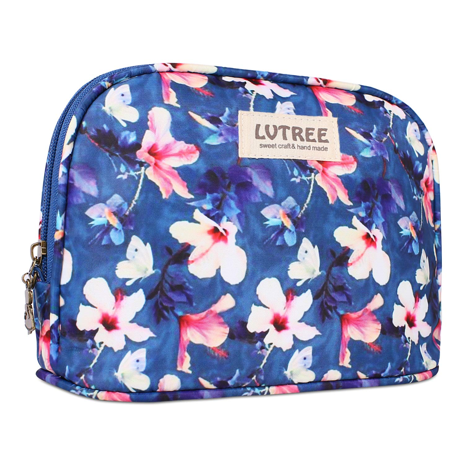 Lvtree Cosmetic Makeup Bag, Portable Handy Waterproof Travel Organizer Countryside Flower Floral Pencil Pen Sleeve Case Cosmetic Toiletry Pouch Purse for Women Girls, Blue