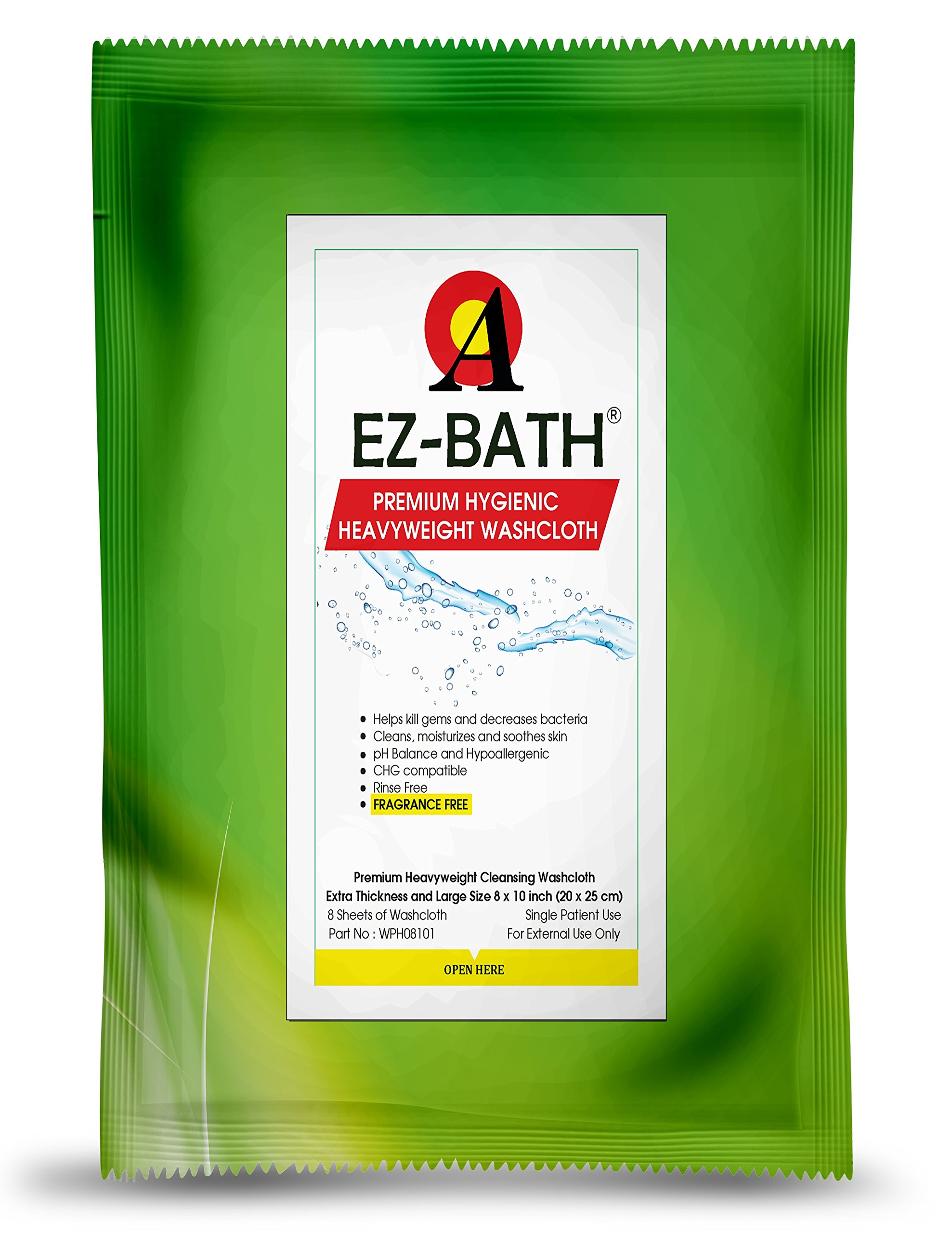 Heavyweight Cleansing Cloths, Unscented, Hygienic pH Balance(8 Sheets-8 Packs) by EZ-BATH