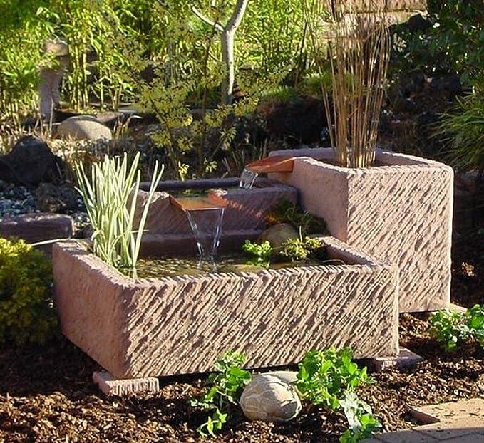 Fuente de jardín, fuente Arni, fuente con cascada, obra de arenisca, marrón rojizo: Amazon.es: Jardín