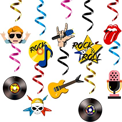 Pack of 3 Rock /& Roll Musical Note Whirls 50s Party Decoration
