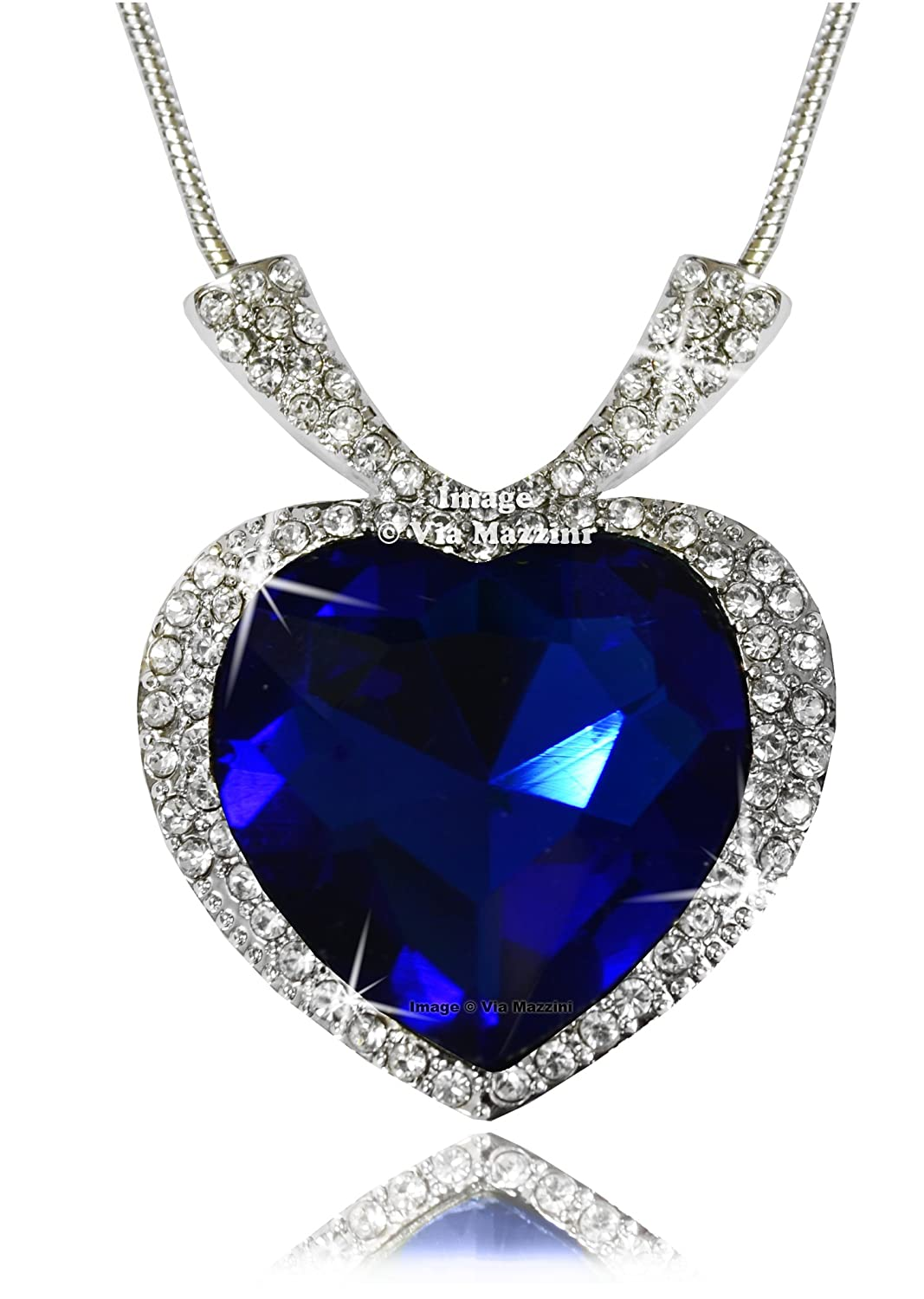 Buy via mazzini gold plated sapphire blue titanic crystal pendant buy via mazzini gold plated sapphire blue titanic crystal pendant necklace for women online at low prices in india amazon jewellery store amazon aloadofball Image collections