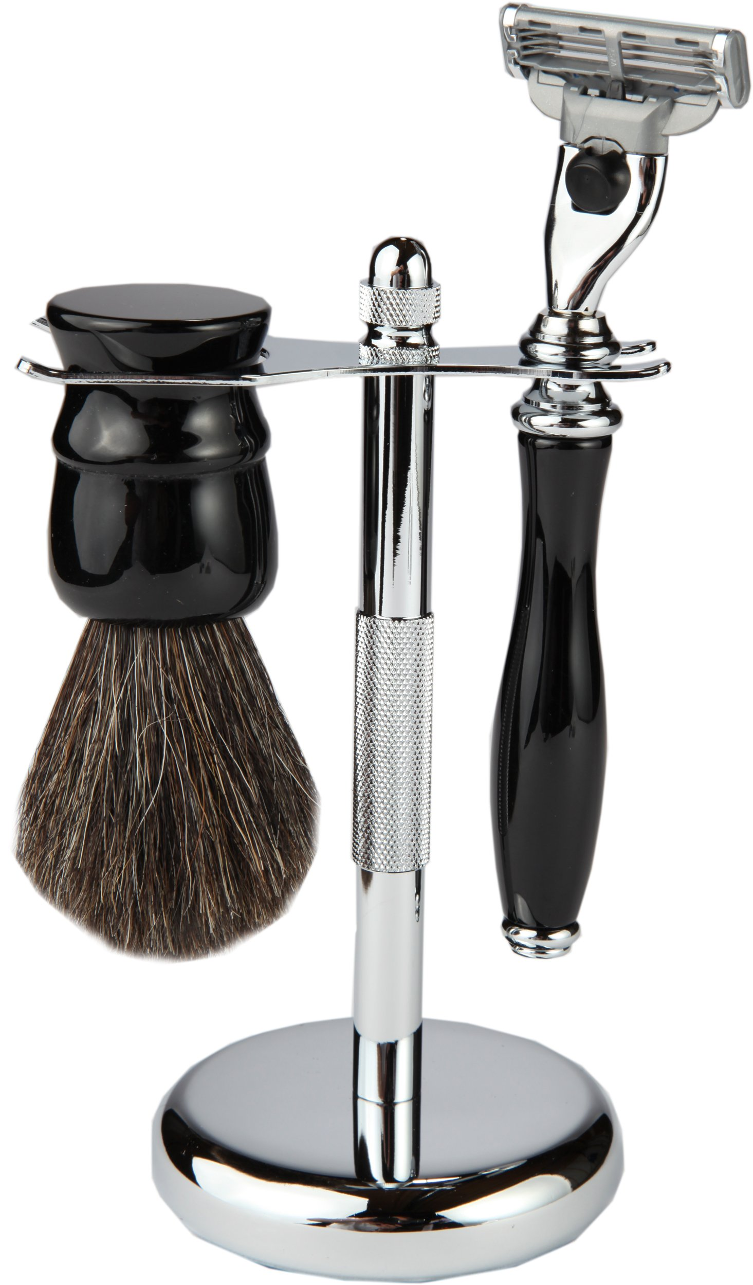 3 Piece Shaving Set With Mach 3 Heavyweight Handle, 100% Badger Brush, With All metal Textured Chrome Classy Stand (Matching Black)