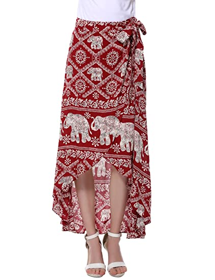 Vessos - Falda - envolvente - para mujer rojo Red-1 Small: Amazon ...