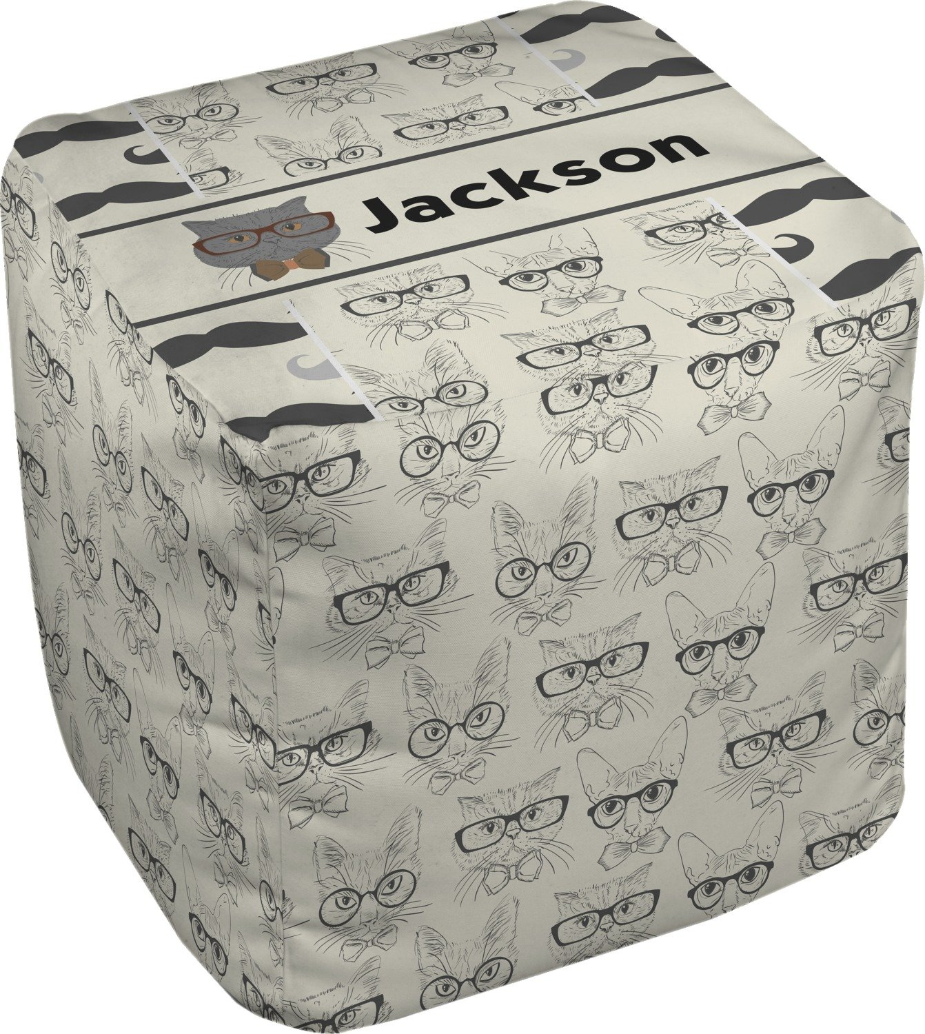 RNK Shops Hipster Cats & Mustache Cube Pouf Ottoman - 13'' (Personalized)